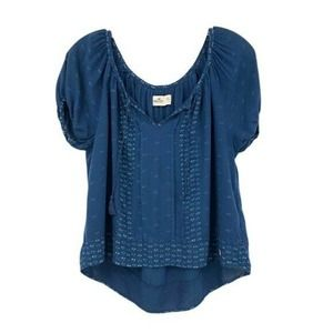Hollister Peasant Top Short Sleeve Blue High Low